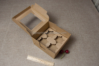kraft paper small cake box cookie packing box nougat packing box with clear window