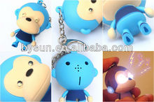 Cartoon monkey 3d keychain flashlight