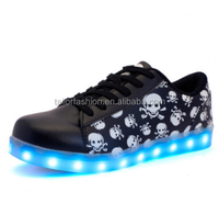 Fashion skeleton rechargeable light shoes, LED light shoes, usb luminous shoes skull