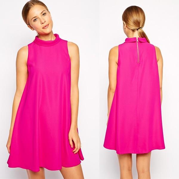 2015 Ladies Fashion Sleeveless Wide Neck Swing Dress