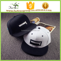 High quality black-white snapback caps for couples with zipper logo