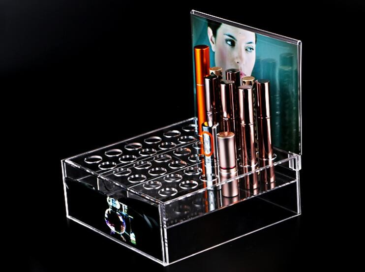 Clear Acrylic Lipstick Organizer/Holds 24 Lipstick Display rack
