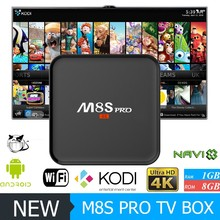 DHL Free shipping 1GB DDR3 8GB EMMC Flash m8s andriod tv box with high quality