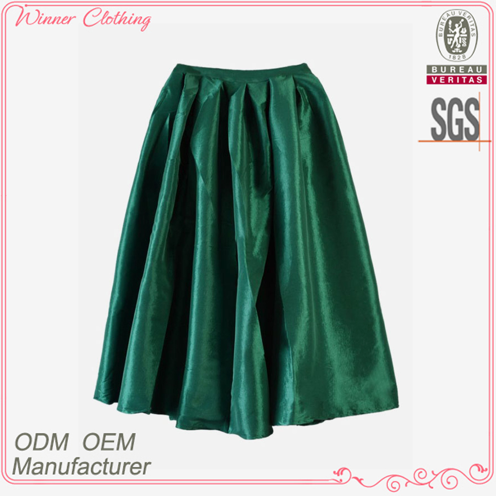 Ladies' fashion polyester shining ruffle high quality direct manufacturer latex fashion skirt