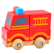 Wooden car toys fire ambulance Big truck car for kids