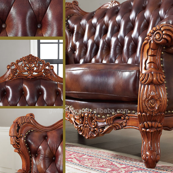 Antique Wooden Sofa ~ Hand carved wooden antique sofa set luxury living room