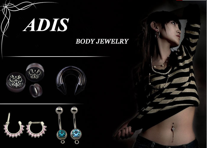 Navel ring with dangling linked rainbow female gender symbols