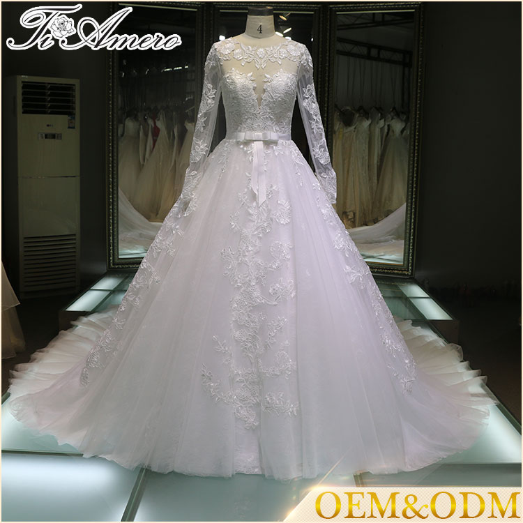 Alibaba dress manufacture China custom made long sleeve wedding gowns