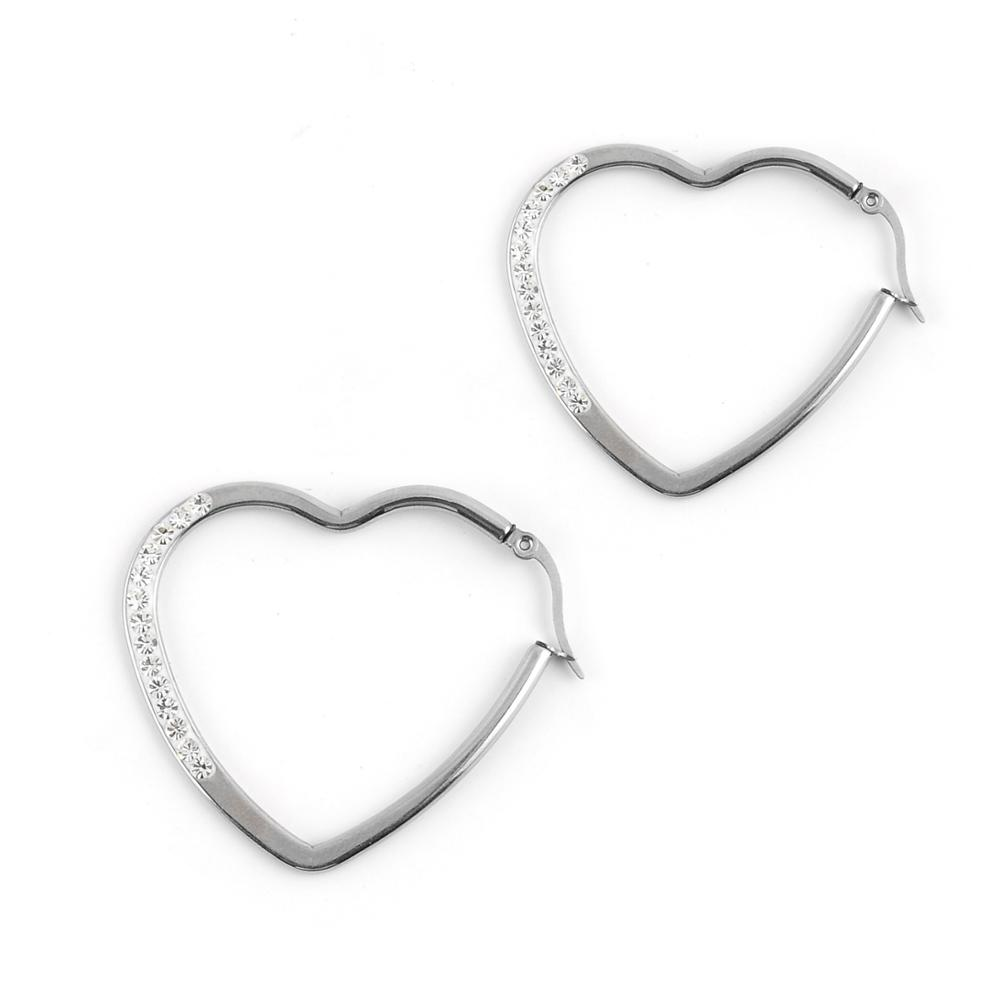 2017 fashion women stainless steel large heart shape hoop earrings wholesale