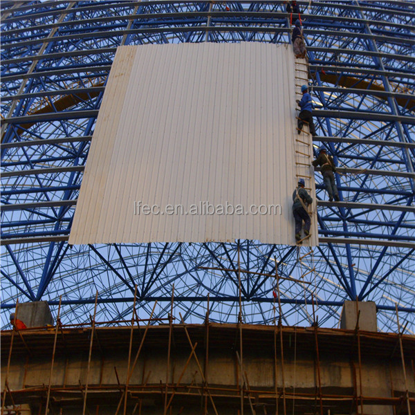 large span steel space frame for cement plant