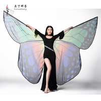 Transparent Dancewear Print Cloak Butterfly Belly Dance costume wings