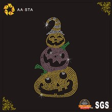 Three pumpkins design iron on various rhinestones motif for Thanksgiving