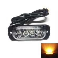 4pcs Ultrathin 4LED amber mini compact side front rear grill directional surface mount truck trailer strobe light