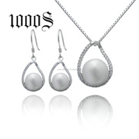 Dubai Jewelry Pearl Set Silver High Quality 925 Micro-Pave Cubic Zirconia Wedding Bridal Jewelry Set