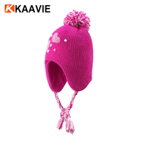 Kids girl winter ear muff embroidery polar fleece lining knitted crochet ski beanie hat with top ball and tie strap