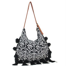 ethnic bag hippie hobo sling crossbody macrame shoulder bag with leather handle and tassel fringe