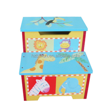 Wooden Quality Hand painted Bright Color Toddler Step Stool Storage Box Kids <strong>Furniture</strong>