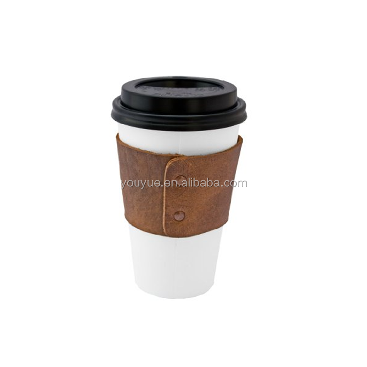 Leather Reusable Coffee Cup Sleeve Holder