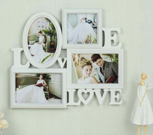 Europe style creative 4 boxes 6inch love photo frame family combination photo frame for picture 3d wall hanging wedding gift