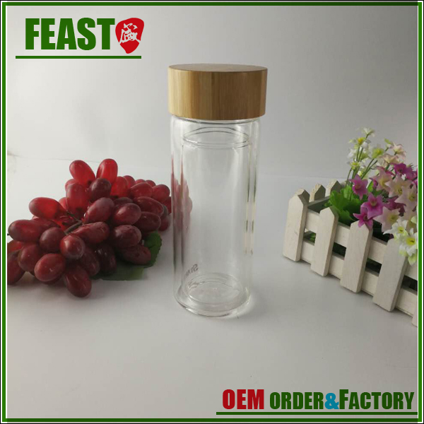 glass water drink bottle with bamboo lid,Double layer bamboo lid tea infuser glass water bottle