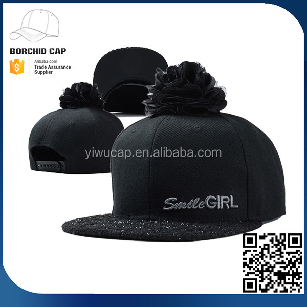 China 6 panel black woolen smile girl embroidery pompom flower snapback caps