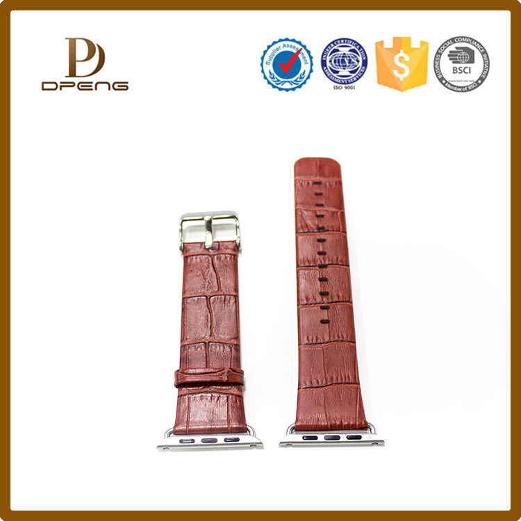 Luxury real alligator leather watch band for apple watch, leather watch strap with metal clip