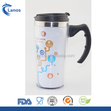 Custom printed double wall travel coffee mugs auto mug with paper insert