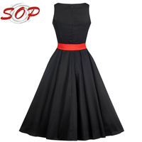2016 New Black Hepburn Design Fashion Dress For Plus Size Beauty Women With Red Elastic Belt For Shop Online