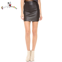 2014 Costume Side Splicing Black Leather Sex Short Tight Skirt