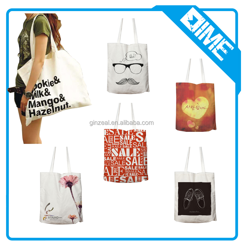 ladies sublimation printing shoulder bag style canvas shopping tote bag