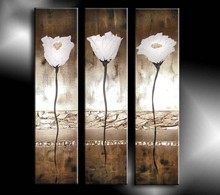 Artwork 3 panel white fllower oil painting on canvas handmade