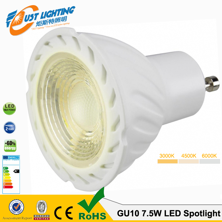 230V AC 45 beam angle 5W 7W gu10 led dimmable LED <strong>spotlight</strong>