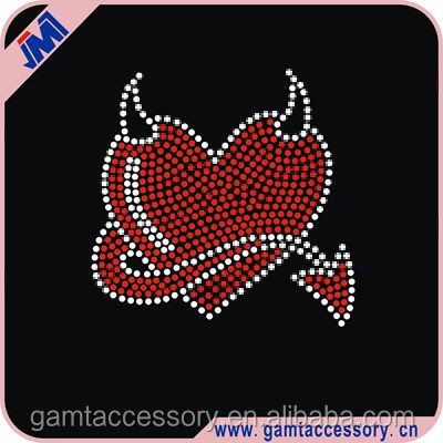 Evil Heart hotfix iron on rhinestone transfer bling designs for baby item