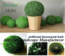 SJY321-11 artificial grass ball, fake boxwood ball, plastic topiary balls with pots or without pots