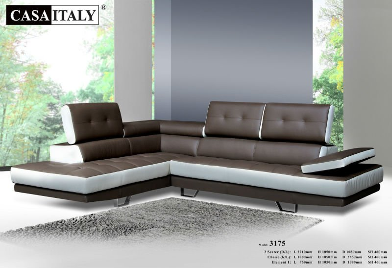 Casa Italy Leather Sofa F 3175, Living Room L-Shape Sofa, Modern Sofa Set