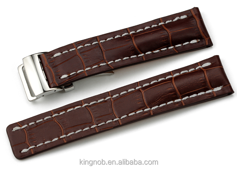 22mm 24mm High Quality Wrist Watch Strap Croco Pattern Italian Leather Watch Band