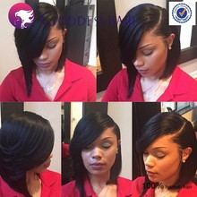 New!side bang full lace wig short bob wigs for black women human hair side parts bob wig with bangs baby hair around