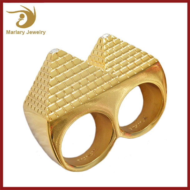 Wholesale Custom Double Steel Ring, Simple New Design Gold Finger Ring For Boys Men, Gold Ring Without Stones