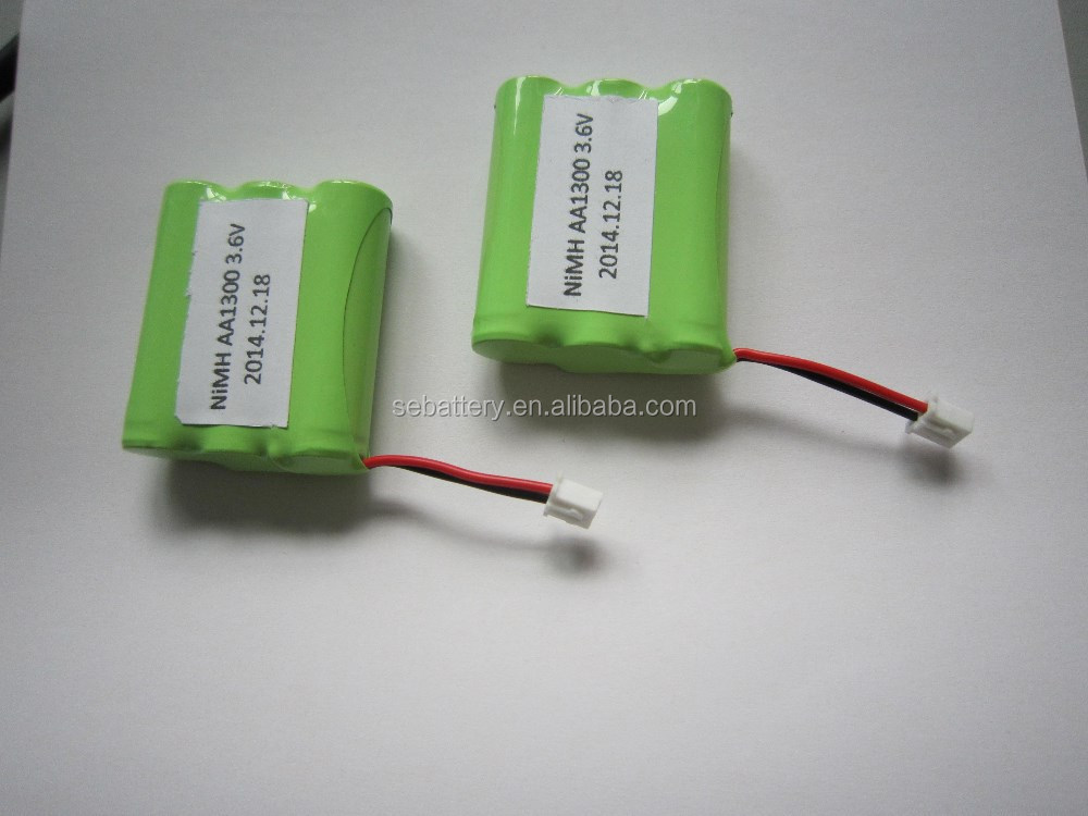 AA 1300mAh Ni-MH rechargeable 3.6V battery pack
