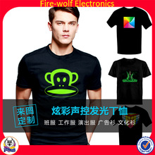 Fashion Lighting Clothes New style music activated EL t shirt for party