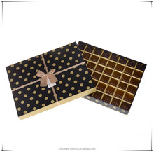 Popular polka dots black chocolate box/rectangle chocolate packing box/chocolate box with compartments