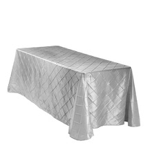 Rectangular Taffeta Pintuck Table Cloth For Wedding Party Hotel Table Decorative