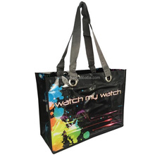 China Fashion recycle promo eco-friendly rpet lamination spunbond nonwoven advertising shopping tote bag for food