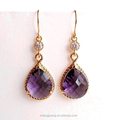 Purple Crystal Gold Plated Clear Amethyst Purple Crystal Teardrop Earrings