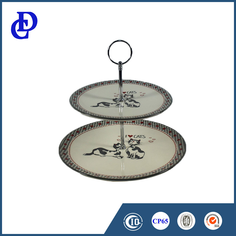 High Quality 2 Tiers New ceramic Round Cake Plate