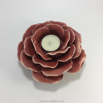 Ceramic lotus flower shape candle holder