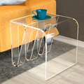 square clear acrylic sofa side table with magazine rack