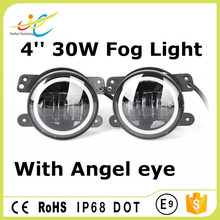 New Arrival Angel eye 4inch 30W 2800LM LED Jeep fog light with halo ring DRL for jeep wrangler JK