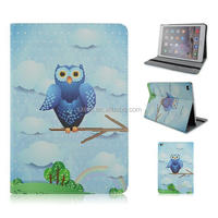 Cute night-owls series printing PU leather case, Folio flip stand case for ipad 5,6 and ipad mini