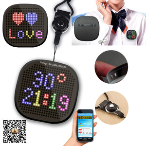 New Smart Phone Bluetooth App 3x3 Inch Text Graphic Time Full Color LED RGB Name Badge with Round Shape